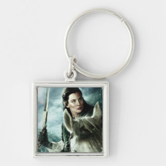 Arwen in Snow and Sword Silver-Colored Square Keychain