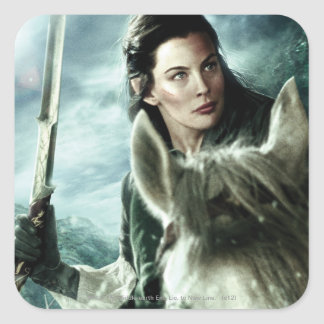Arwen in Snow and Sword Square Sticker