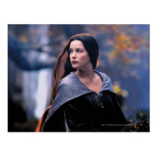 Arwen que mira detrás postal