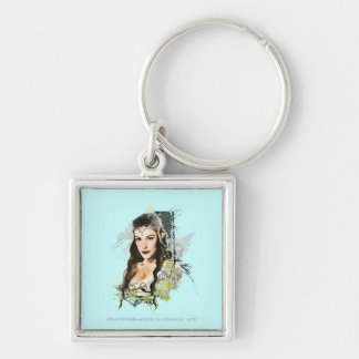 Arwen Vector Collage Silver-Colored Square Keychain