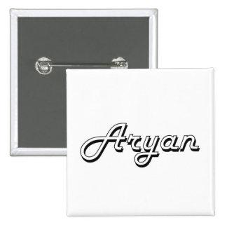 Aryan Classic Retro Name Design 2 Inch Square Button