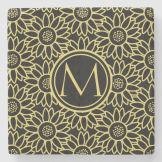 Arylide Yellow Sunflower Pattern Monogrammed Stone Coaster