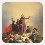 Arzobispo Affre en las barricadas, 1848 Pegatina Cuadrada