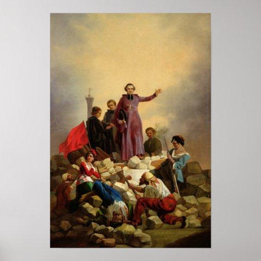 Arzobispo Affre en las barricadas, 1848 Póster