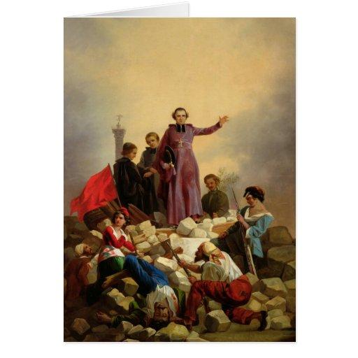 Arzobispo Affre en las barricadas, 1848 Tarjeta De Felicitación
