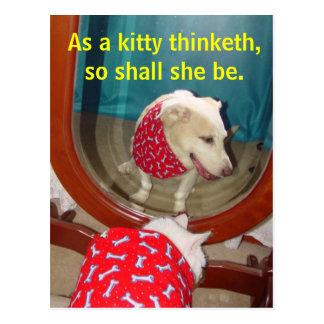 As a kitty thinketh... postcard