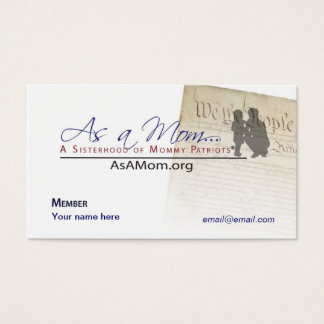 As A Mom... Member business Card