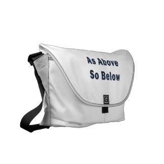 as above so below denim textured pagan saying.png messenger bags