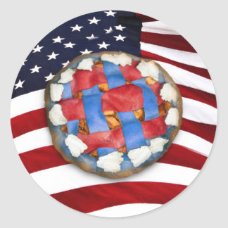 As American As a Red White & Blue Apple Pie Classic Round Sticker
