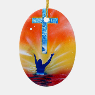 As and yea shall receive spray paint painting Double-Sided oval ceramic christmas ornament