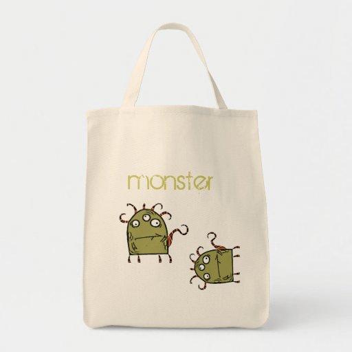 as, as, monstruo verde bolsa tela para la compra