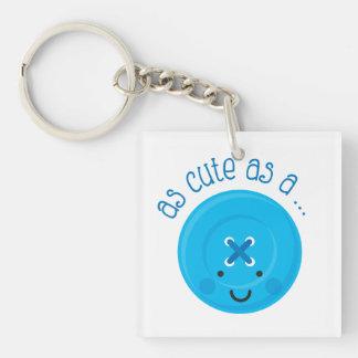 As Cute As A Button Blue Keychain