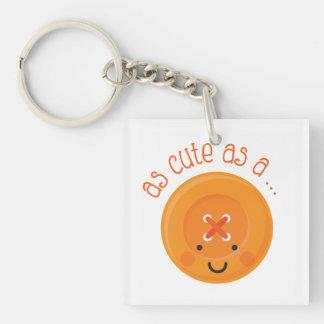 As Cute As A Button Orange Keychain