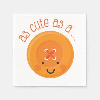 As Cute As A Button Orange Paper Napkin