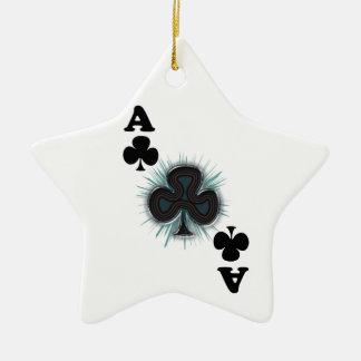 As de clubs adorno navideño de cerámica en forma de estrella