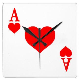 As de corazones reloj cuadrado