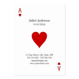 As de la tarjeta de visita de los corazones