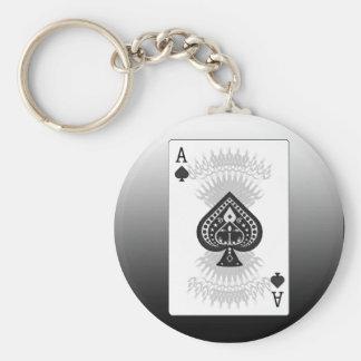As de la tarjeta del póker de las espadas: llavero redondo tipo pin