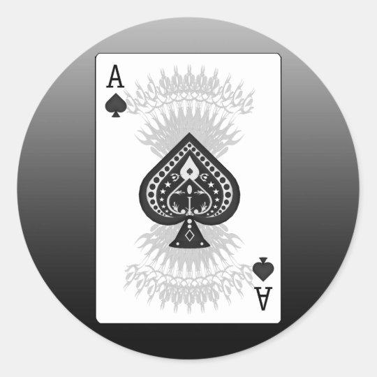 As de la tarjeta del póker de las espadas: pegatina redonda