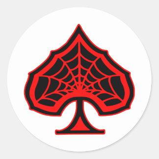 As de Spiderweb de espadas Pegatina Redonda