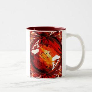 As de taza de café del arte del póker de corazones