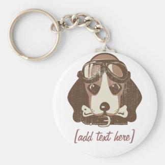 As del beagle [editable] llavero redondo tipo pin