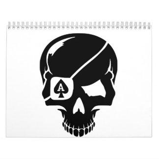 As del cráneo del póker calendarios de pared