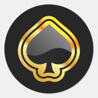 As del oro de espadas pegatina redonda