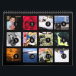 "As Easy as 1 to 12 Your Own Black Photo Calendar<br><div class=""desc"">12 of your favorite photos is all you need to create your own custom personalized solid black wall calendar. A centered subject works best, your pictures will fit in and be cropped to a square format automatically. Picture templates are numbered from 1 to 12 for the first month to the...</div>"