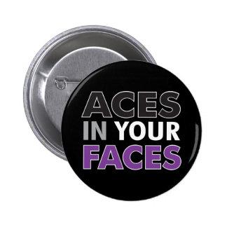 As en su oscuridad del botón de las caras