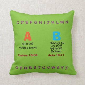 """""""AS FOR GOD"""" THROW PILLOW WITH ABC'S"""