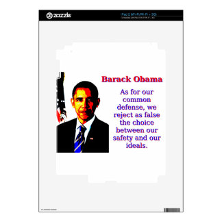 As For Our Common Defense - Barack Obama Decals For The iPad 2