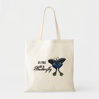 As free as a Butterfly Peacock Butterbird Feelings Budget Tote Bag