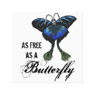 As free as a Butterfly Peacock Butterbird Feelings Canvas Print