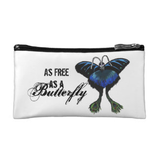As free as a Butterfly Peacock Butterbird Feelings Cosmetic Bag