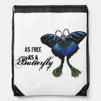 As free as a Butterfly Peacock Butterbird Feelings Drawstring Bag
