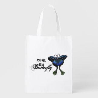 As free as a Butterfly Peacock Butterbird Feelings Grocery Bag