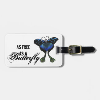 As free as a Butterfly Peacock Butterbird Feelings Luggage Tag