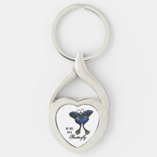 As free as a Butterfly Peacock Butterbird Feelings Silver-Colored Heart-Shaped Metal Keychain