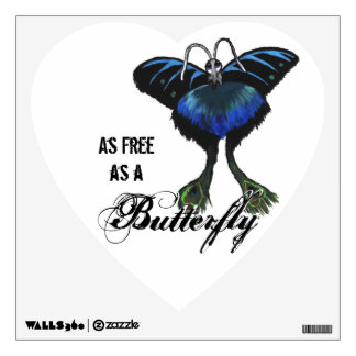 As free as a Butterfly Peacock Butterbird Feelings Wall Decal