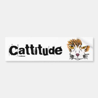 AS- Funny Cat Cartoon Cattitude Bumper Sticker Car Bumper Sticker
