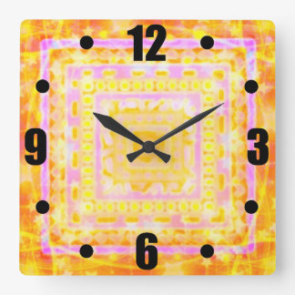 As Girly As It Gets Pretty Bokeh Pink Gold Boho Square Wall Clock