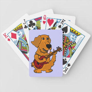 AS- Golden Retriever Playing the Guitar Cartoon Bicycle Playing Cards
