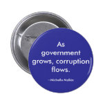 As government grows, corruption flows. 2 inch round button