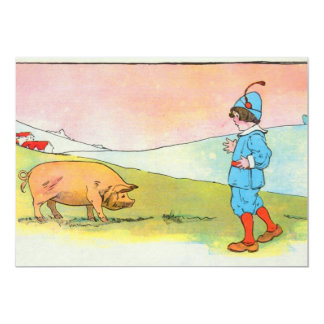 As I went to Bonner, I met a pig 5x7 Paper Invitation Card