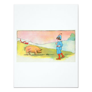 As I went to Bonner, I met a pig 4.25x5.5 Paper Invitation Card