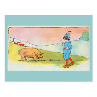 As I went to Bonner, I met a pig Postcard