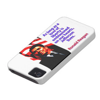 As Long As A Love Of Liberty - Ronald Reagan iPhone 4 Cover