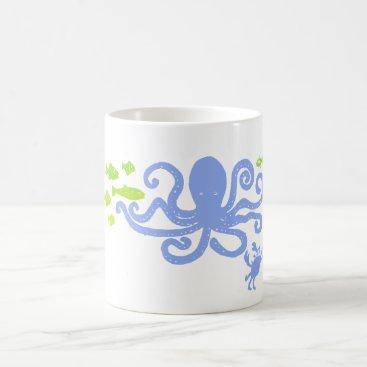 Coffee Themed AS Mug Blue Octopus