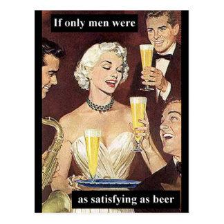 As Satisfying As Beer Postcard